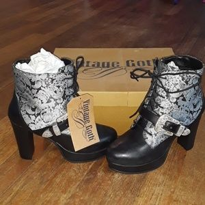 DISCONTINUED Vintage Goth Short Brocade Boot